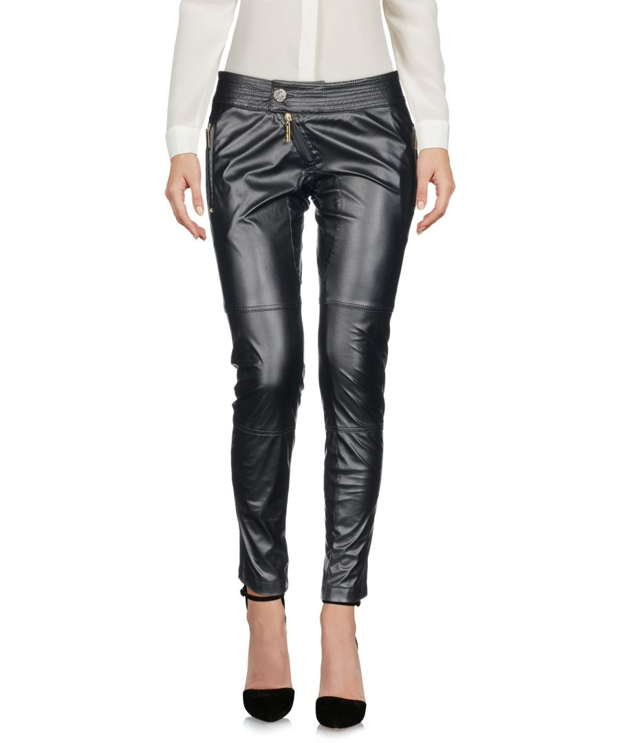 Image for Elisabetta Franchi Jeans For Celyn B. Black Faux Leather Tapered Leg Trousers