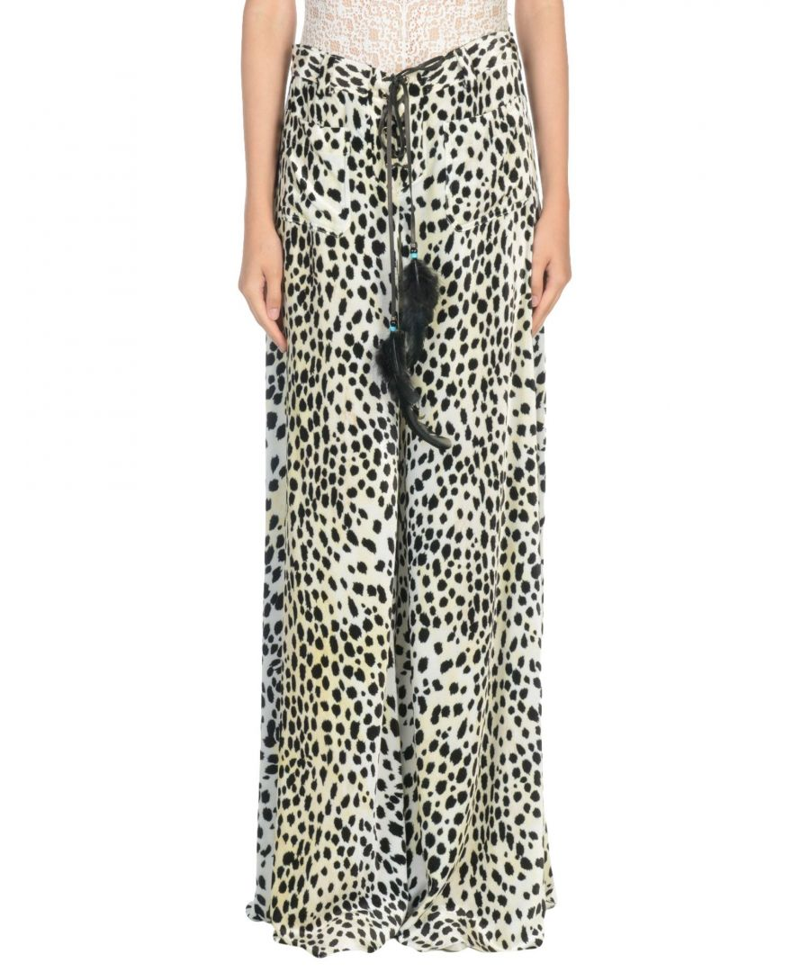 Image for Roberto Cavalli Beige Print Wide Leg Trousers