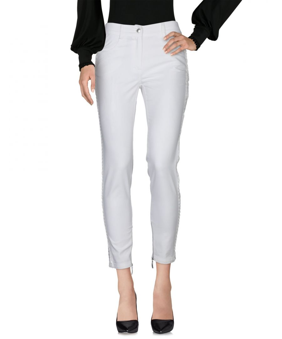 Image for Clips More White Cotton Tapered Leg Trousers