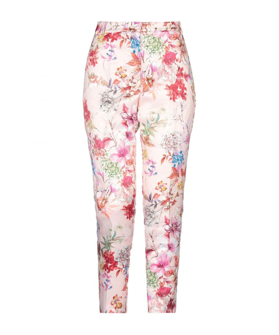 Image for Twenty Easy By Kaos Pink Floral Design High Waisted Tailored Trousers