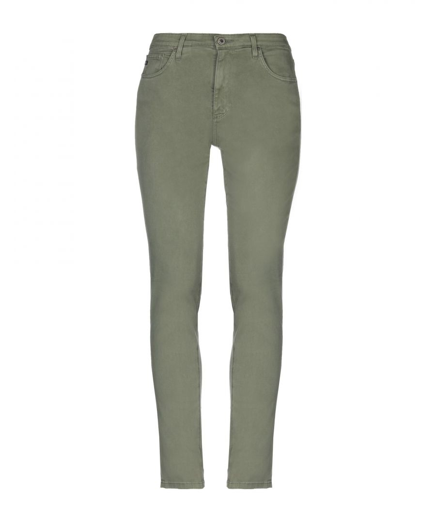 Image for Ag Jeans Military Green Cotton Straight Leg Trousers