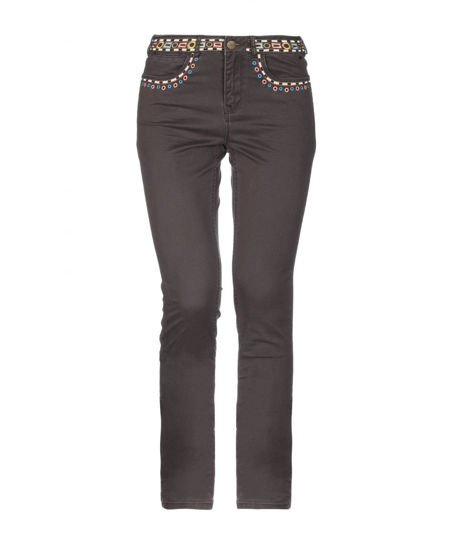 Image for Maison Scotch Dark Brown Embroidered Cotton Tapered Leg Trousers