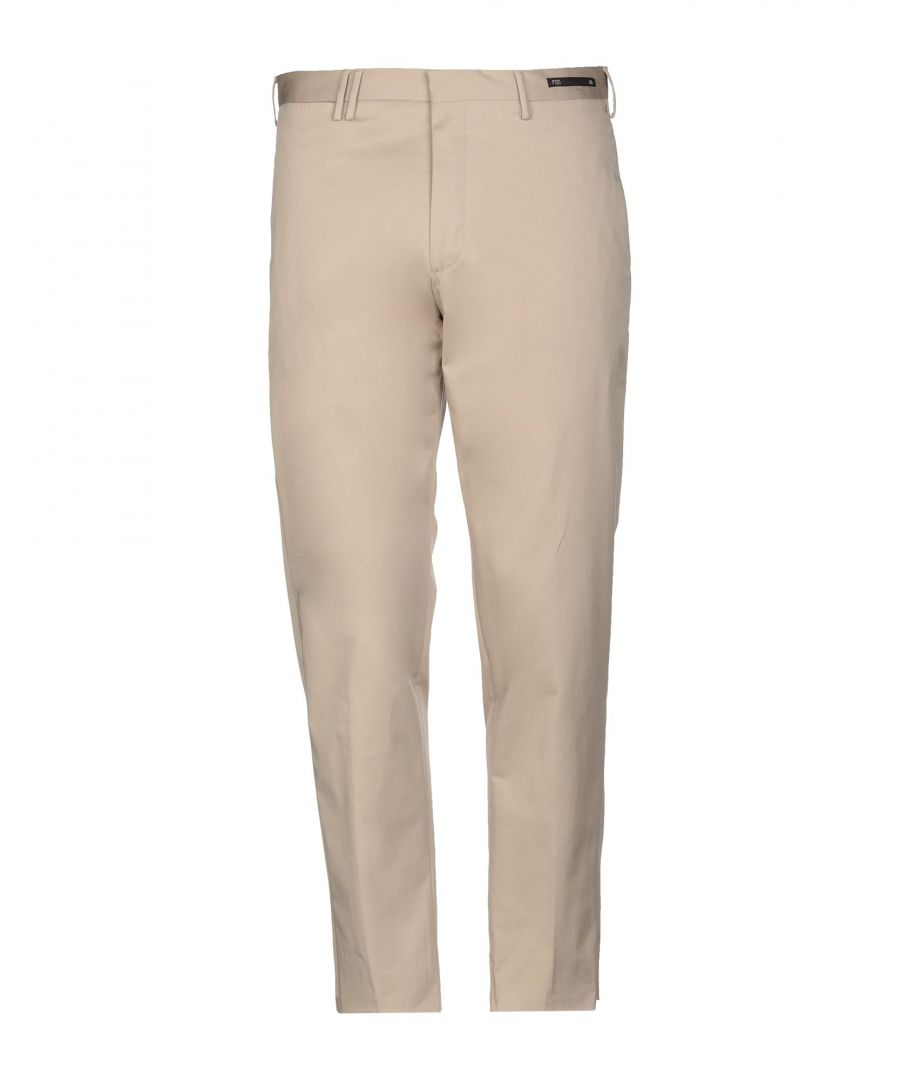 Image for PT01 Beige Cotton Regular Fit Trousers