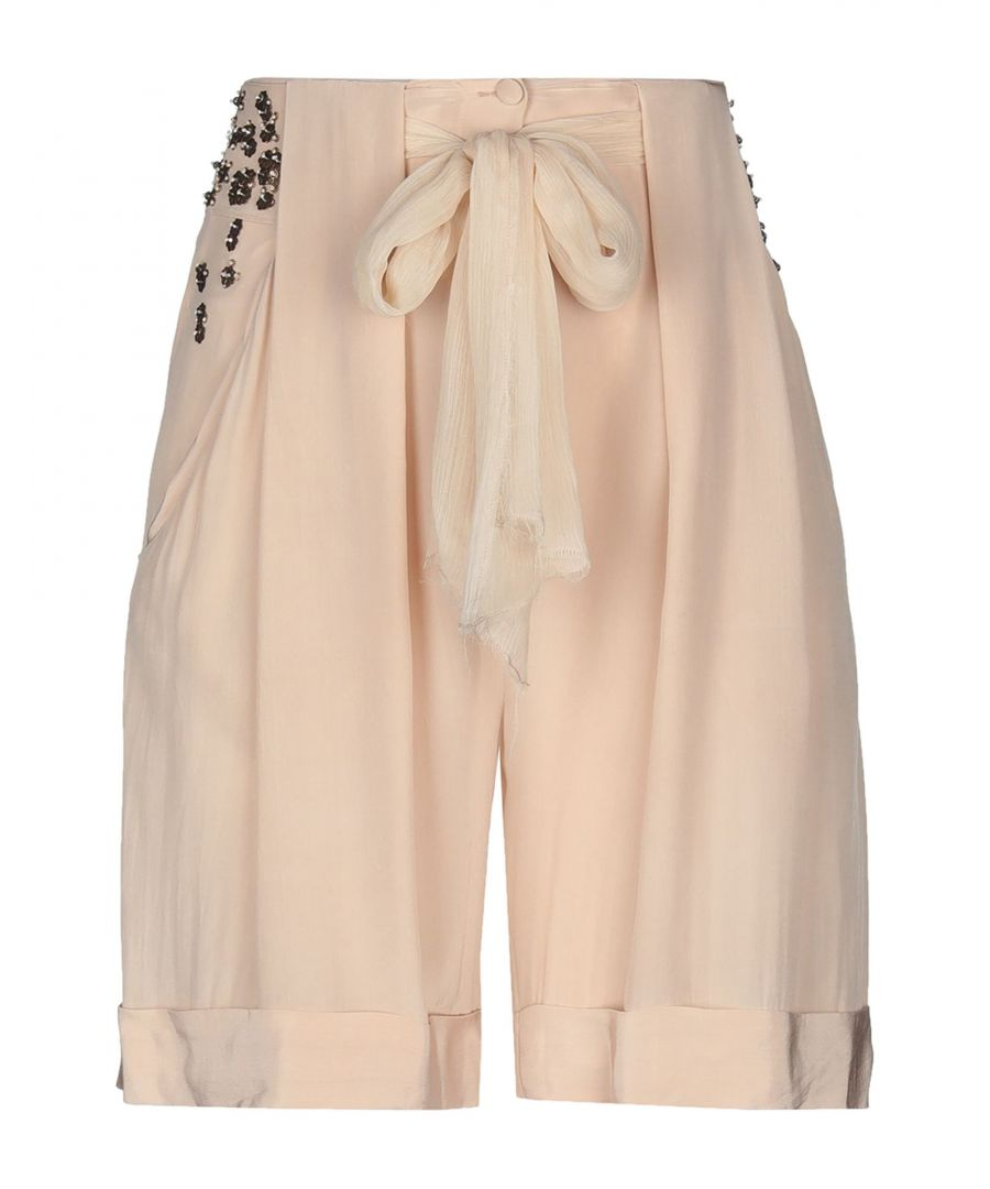 Image for Cruciani Light Pink Silk Embellished Shorts