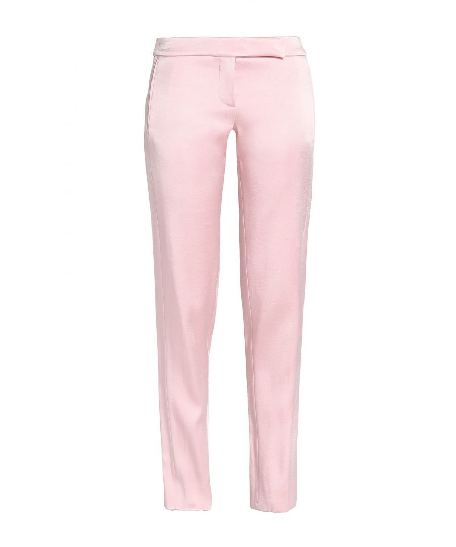 Image for Amanda Wakeley Pink Satin Tapered Leg Tailored Trousers