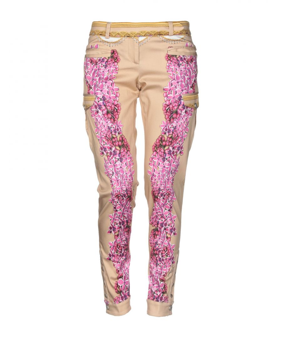 Image for Just Cavalli Sand Cotton Floral Design Tapered Leg Trousers
