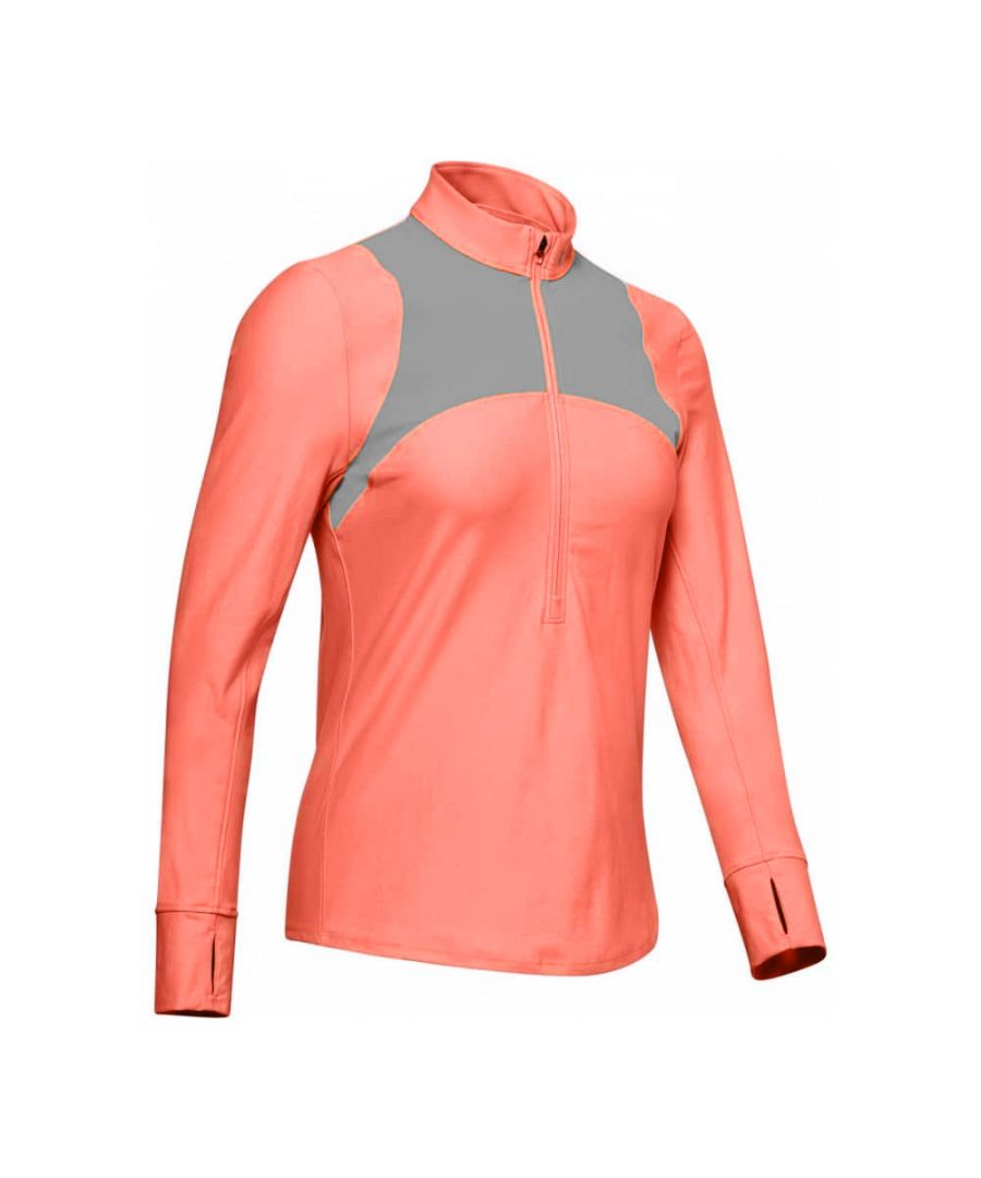 Image for Under Armour Qualifier Womens 1/2 Zip Shirt Neon Coral/Grey