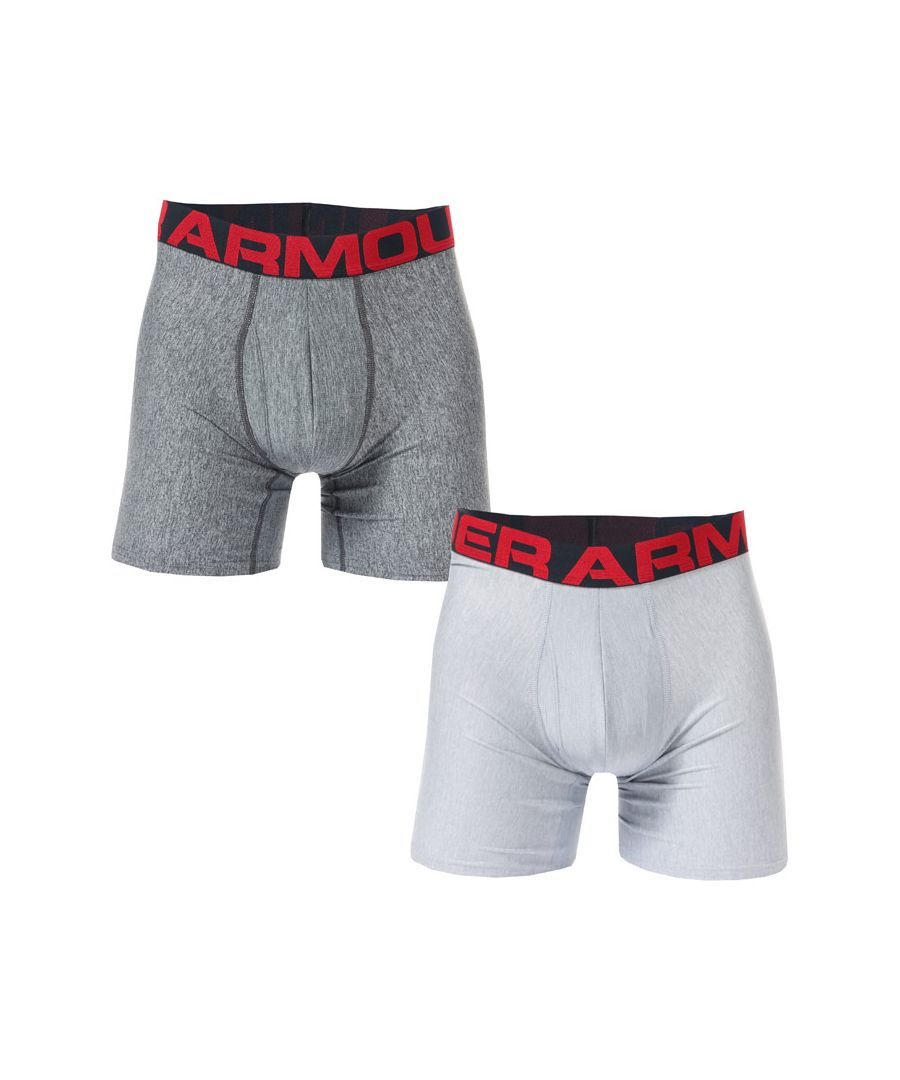 Image for Men's Under Armour Tech 6 Inch Boxerjock 2 Pack in Grey