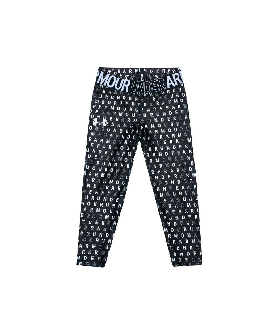 Image for Girl's Under Armour Junior Armour Printed Crop Legging in Black