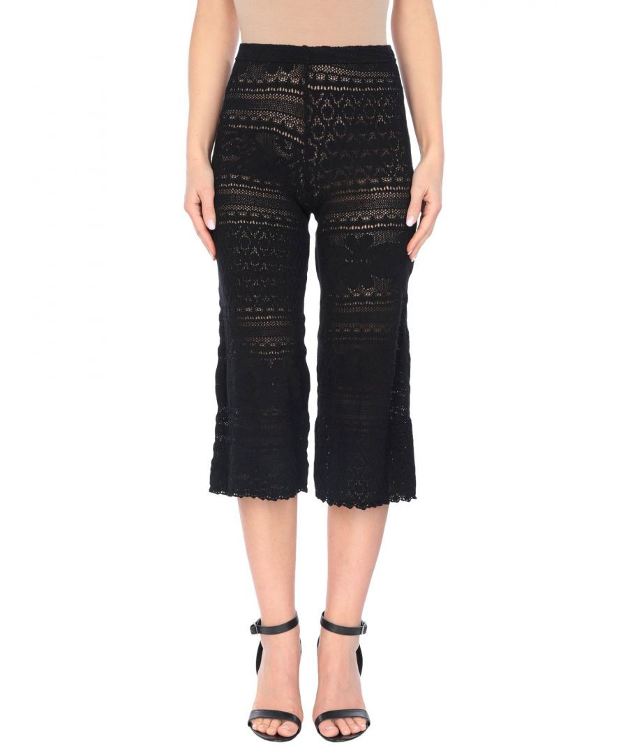 Image for Circus Hotel Black Crochet Knit Cropped Trousers