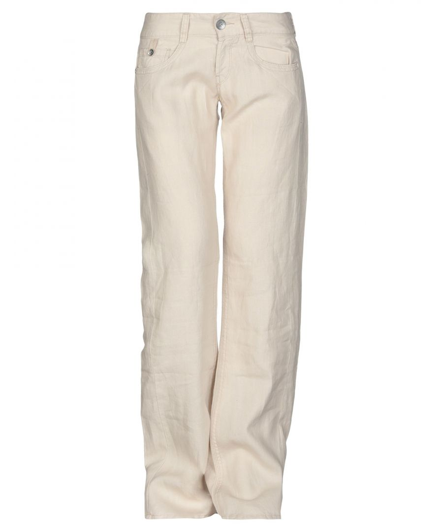 Image for Replay Beige Linen Wide Leg Trousers