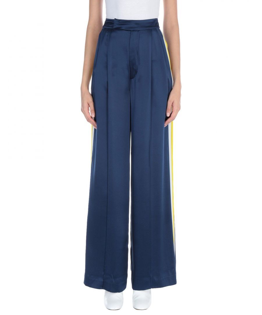 Image for Alexis Dark Blue Silk Wide Leg Trousers