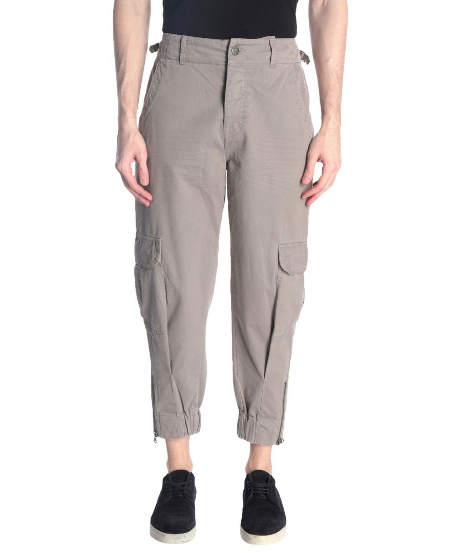 Image for Replay Light Grey Cotton Tapered Leg Cargo Trousers
