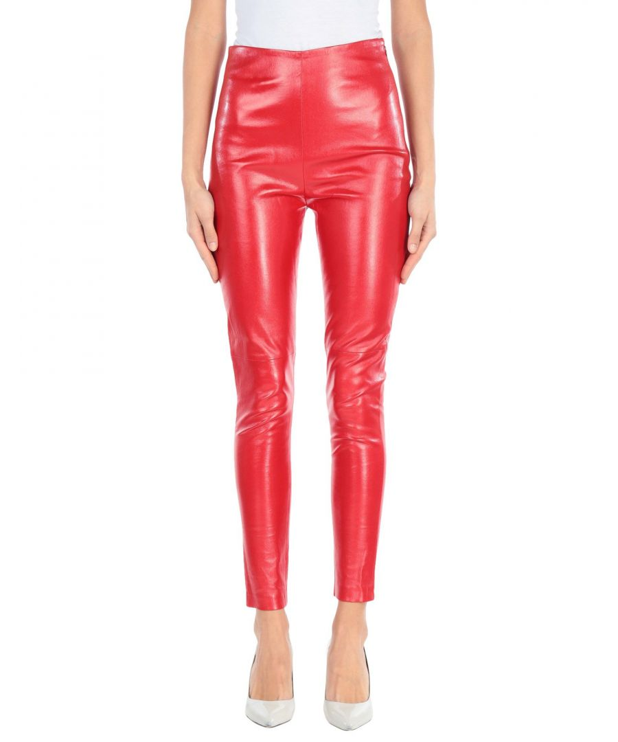 Image for Iro Red Lambskin Leather Trousers