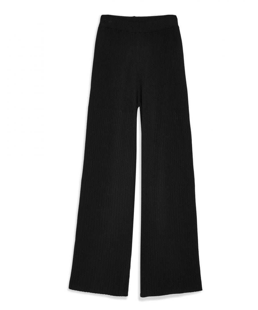 Image for Topshop Black Ribbed Knit High Waisted Wide Leg Trousers