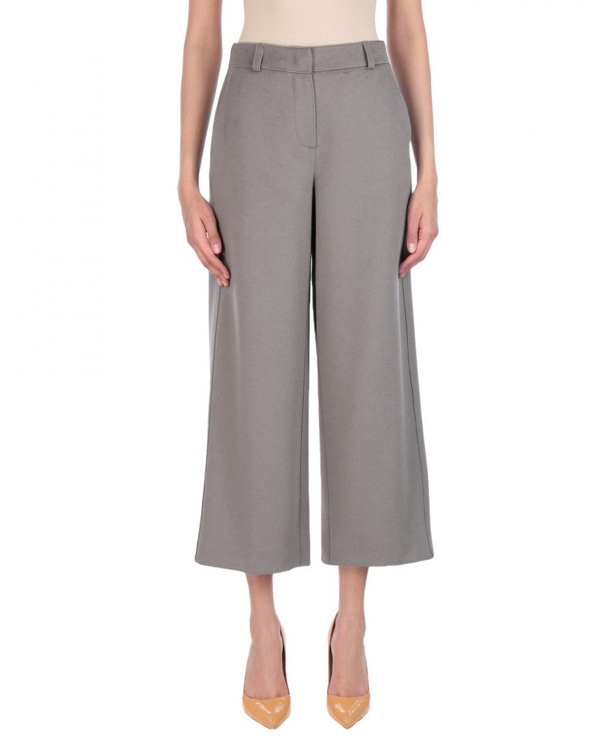 Image for Giorgio Armani Grey Virgin Wool Wide Leg Cropped Trousers