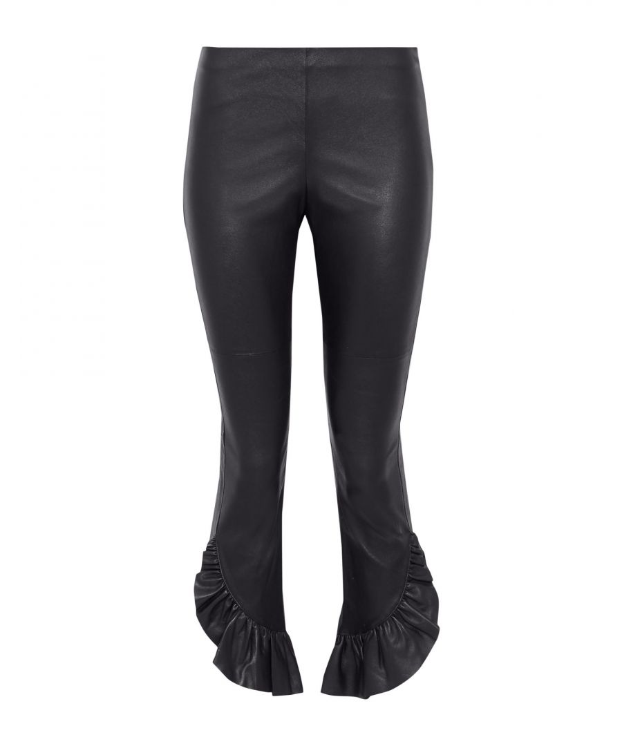 Image for Cinq A Sept Black Lambskin Leather Ruffle Trousers