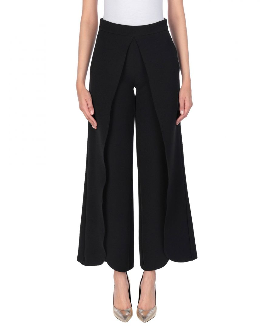 Image for Cristinaeffe Black Scalloped Hem Cropped Trousers