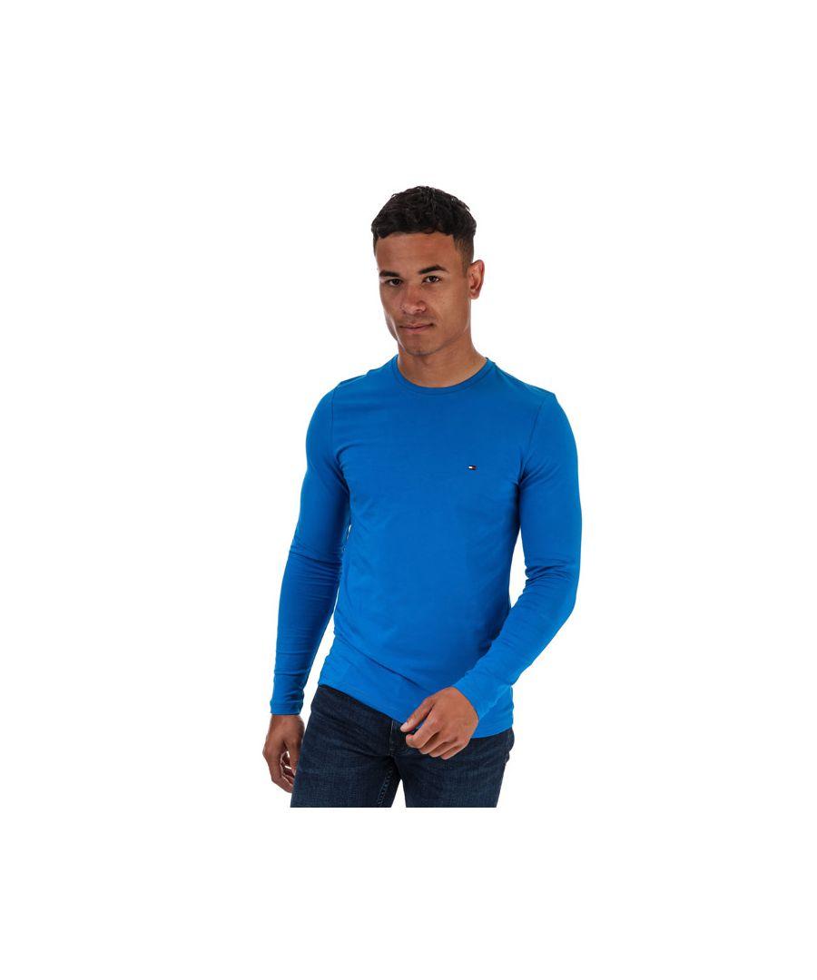 Image for Men's Tommy Hilfiger Organic Cotton Slim Fit LS T-Shirt Blue Min Blue