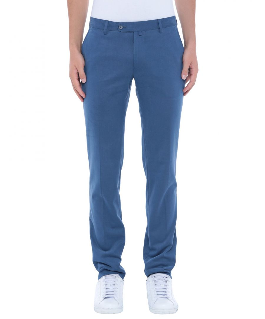 Image for Luigi Borrelli Napoli Slate Blue Cotton Trousers