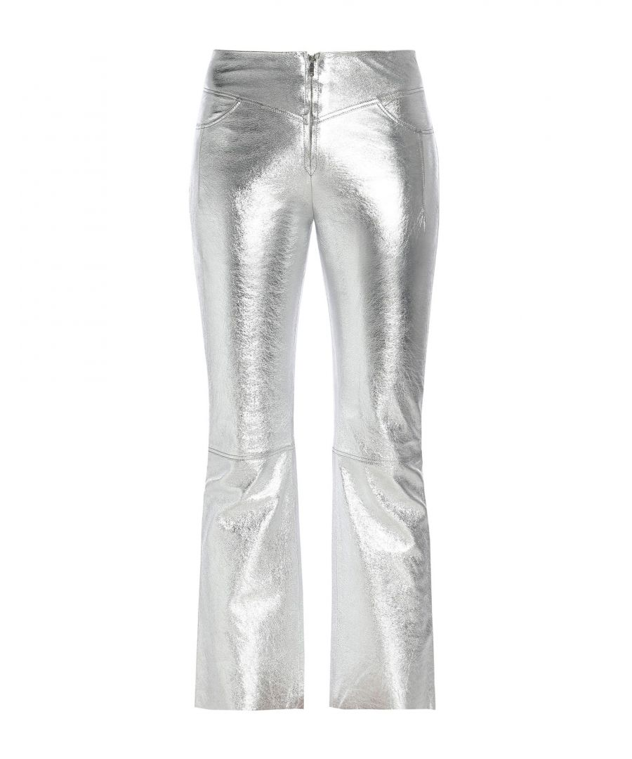 Image for Sandro Silver Lambskin Leather Trousers