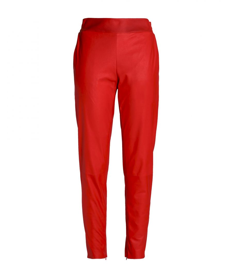 Image for Drome Red Lambskin Leather Trousers