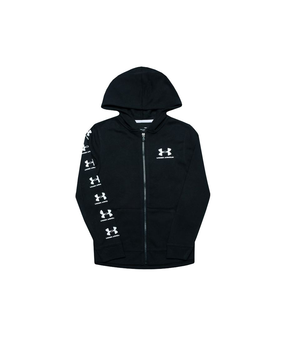 Image for Boy's Under Armour Junior Rival Full Zip Hoody in Black