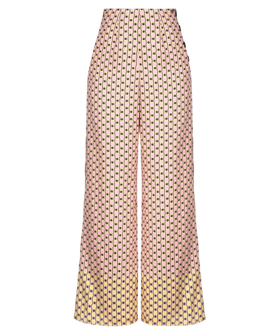 Image for Nenette Pink Geometric Design Wide Leg Trousers