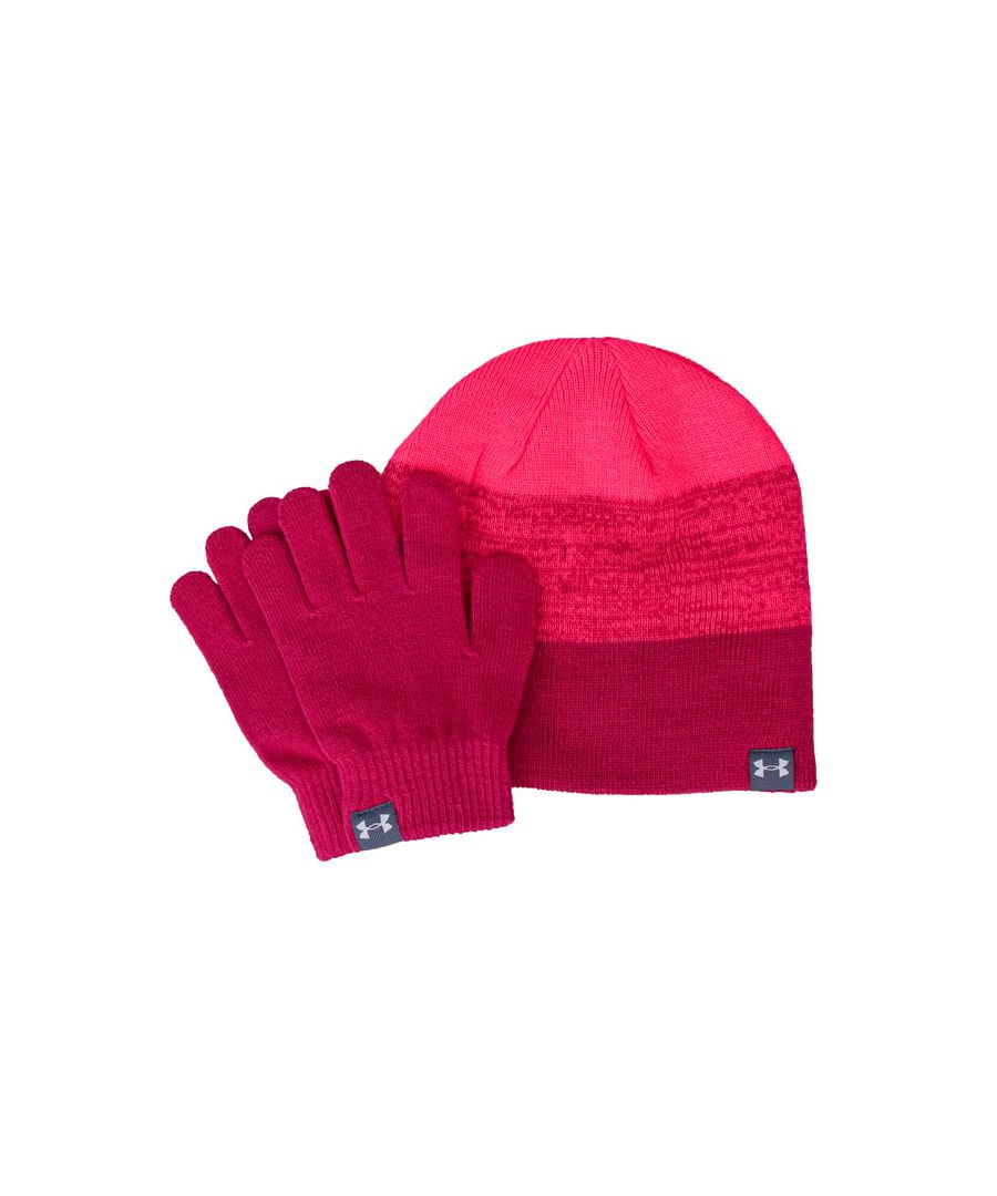 Image for Accessories Under Armour Beanie and Glove Set in Pink
