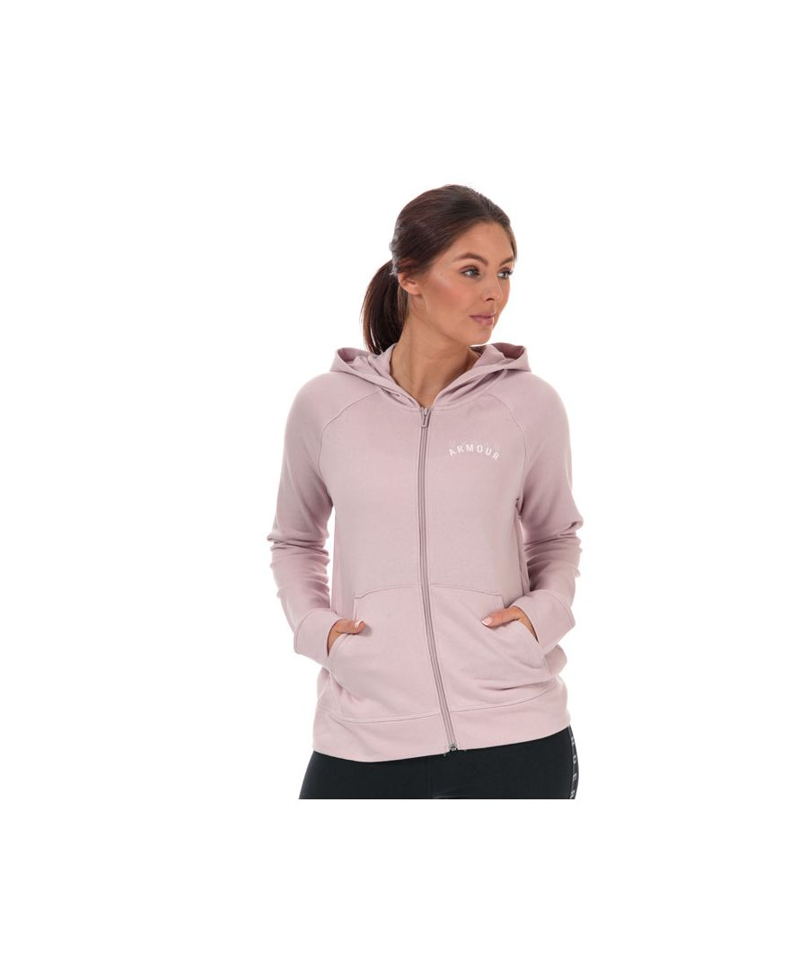 Image for Women's Under Armour Rival Terry Zip Hoody Pink 12-14in Pink