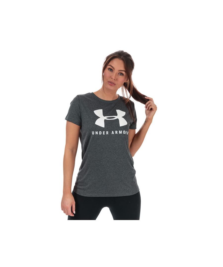 Image for Women's Under Armour Tech Logo Graphic T-Shirt Grey 12-14in Grey