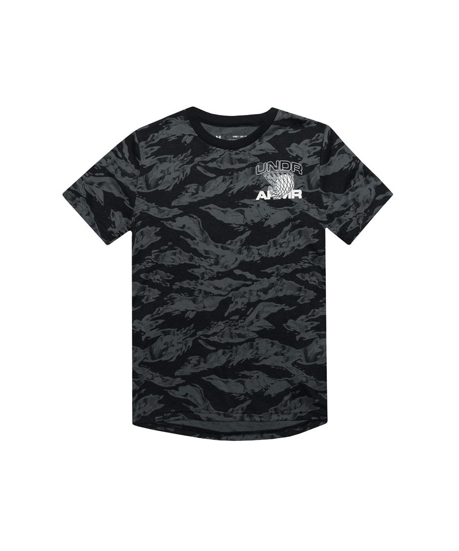 Image for Boy's Under Armour Junior Camo Basket Ball T-Shirt in Black