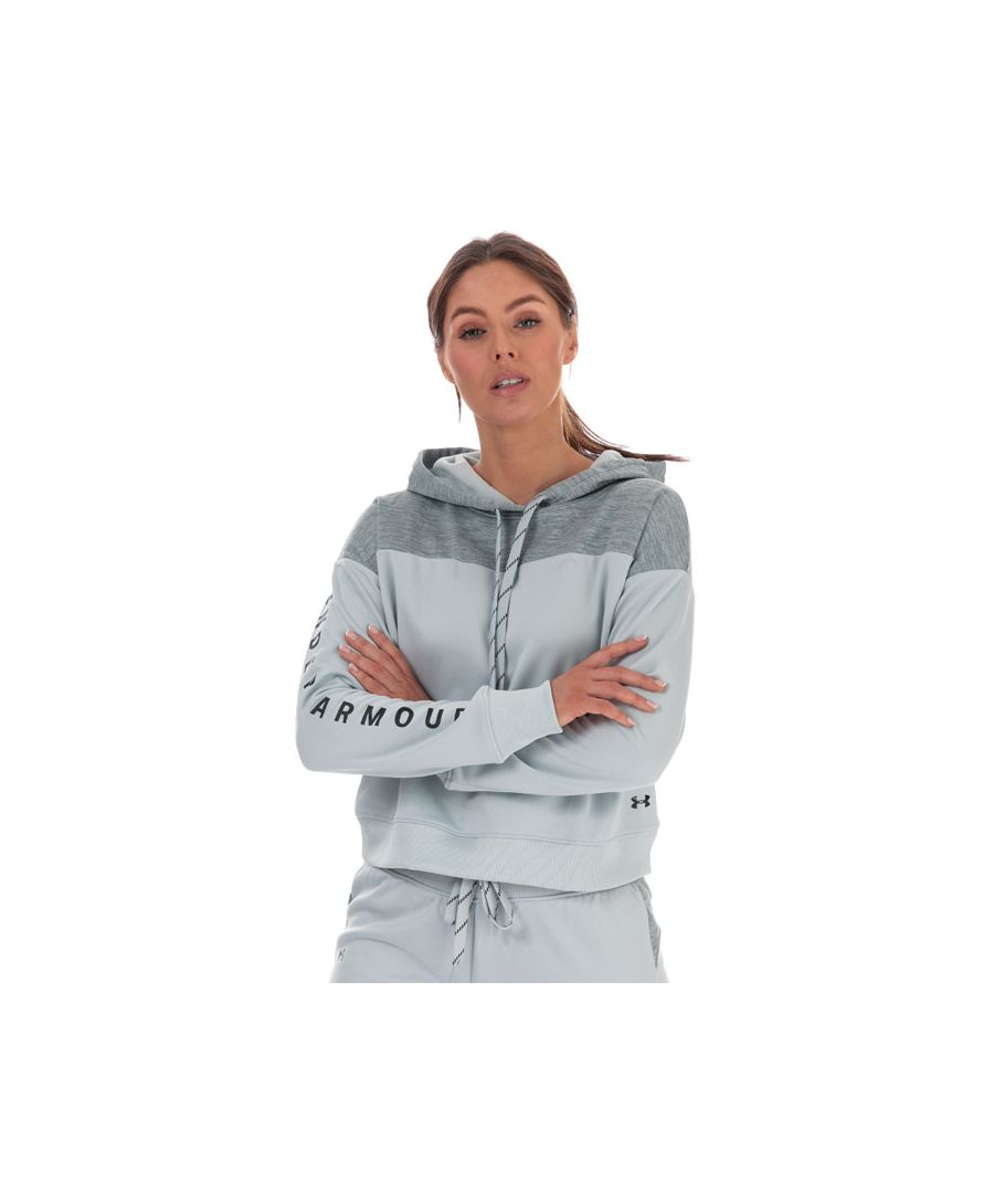 Image for Women's Under Armour Cropped Fleece Hoodie Grey 4-6In Grey
