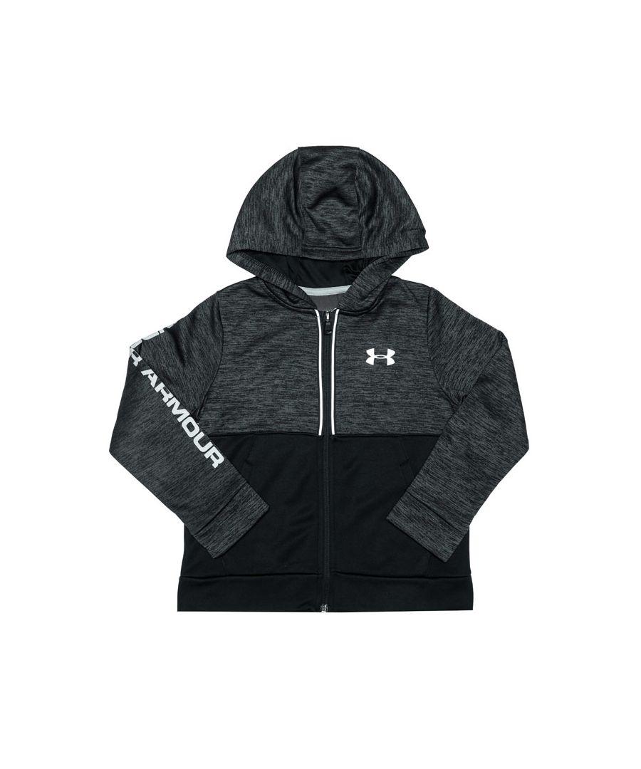 Image for Boy's Under Armour Junior Armour Fleece RFT Full Zip Hoody in Black