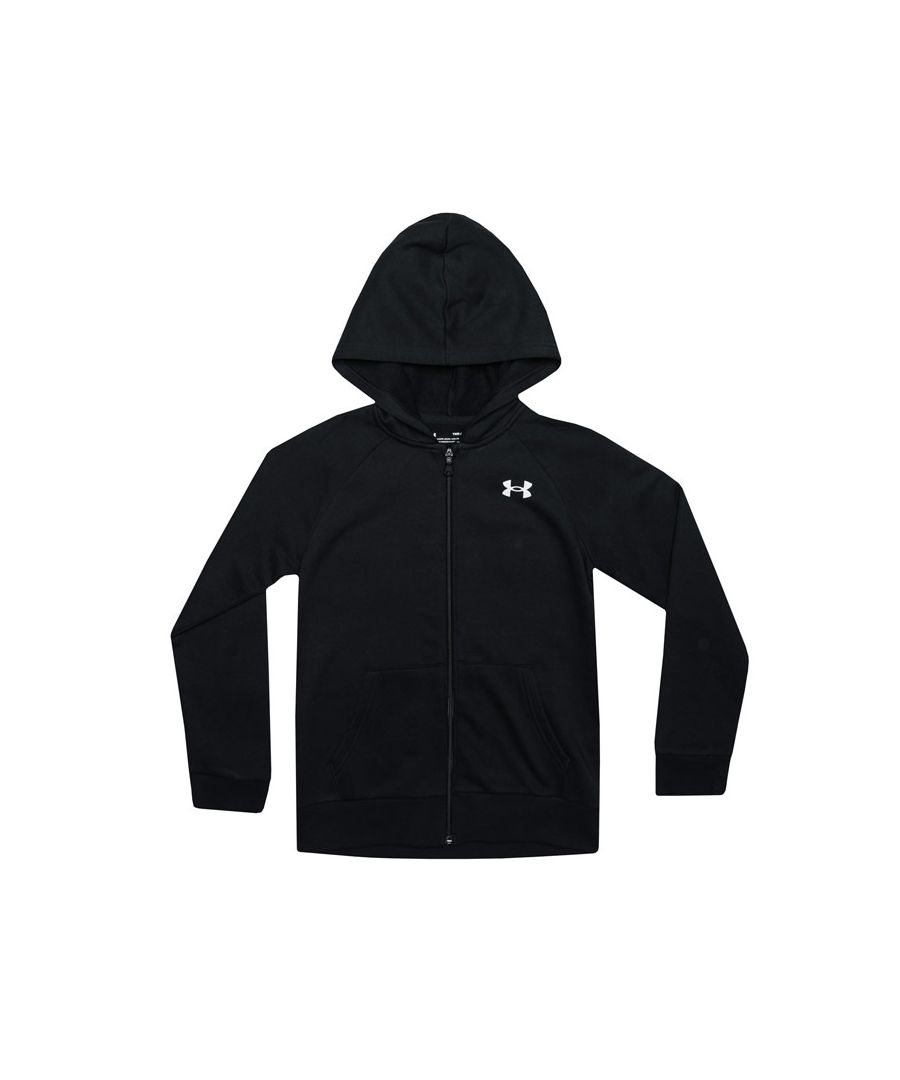 Image for Boy's Under Armour Junior Rival Cotton Zip Hoody in Black