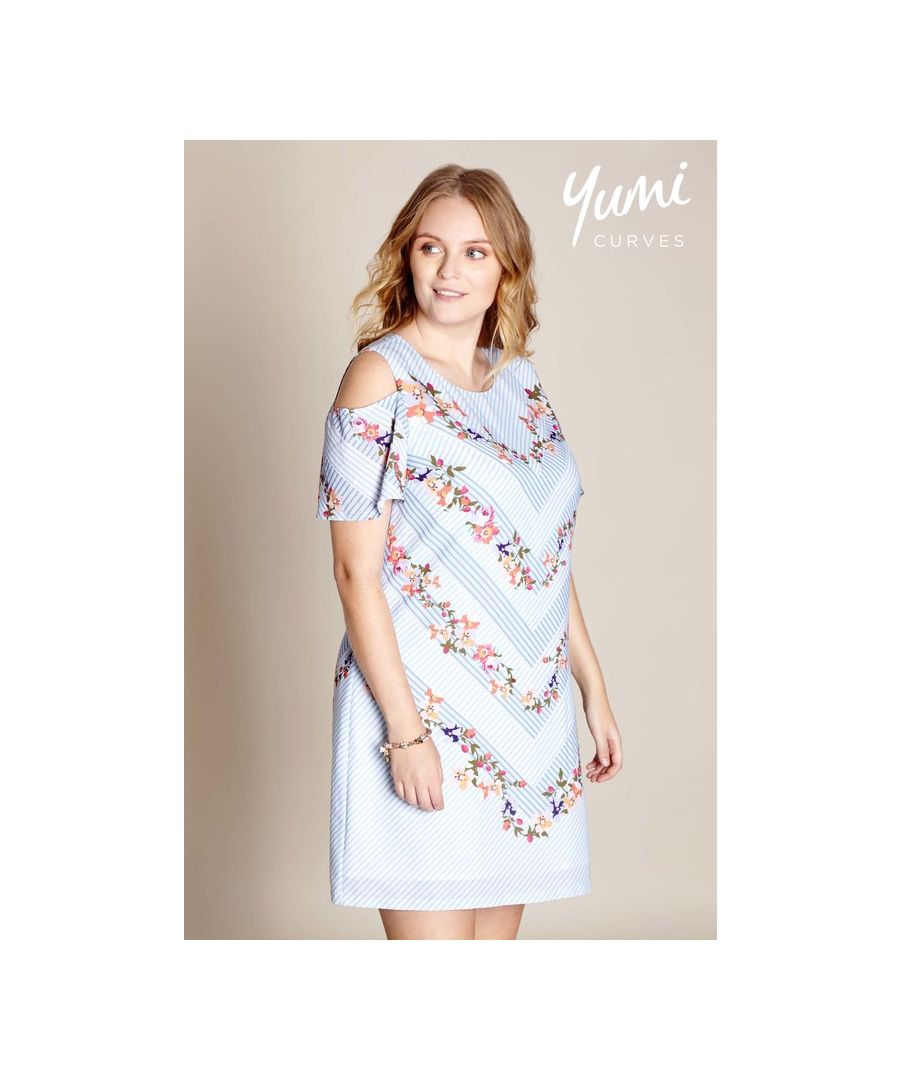 Image for Yumi Curves Cold Shoulder Floral Stripe Tunic