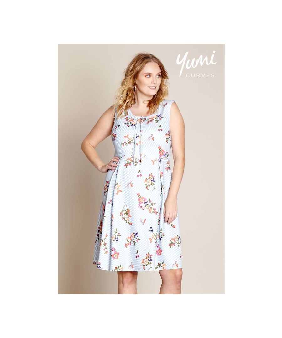 Image for Yumi Curves French Floral Stripe Dress