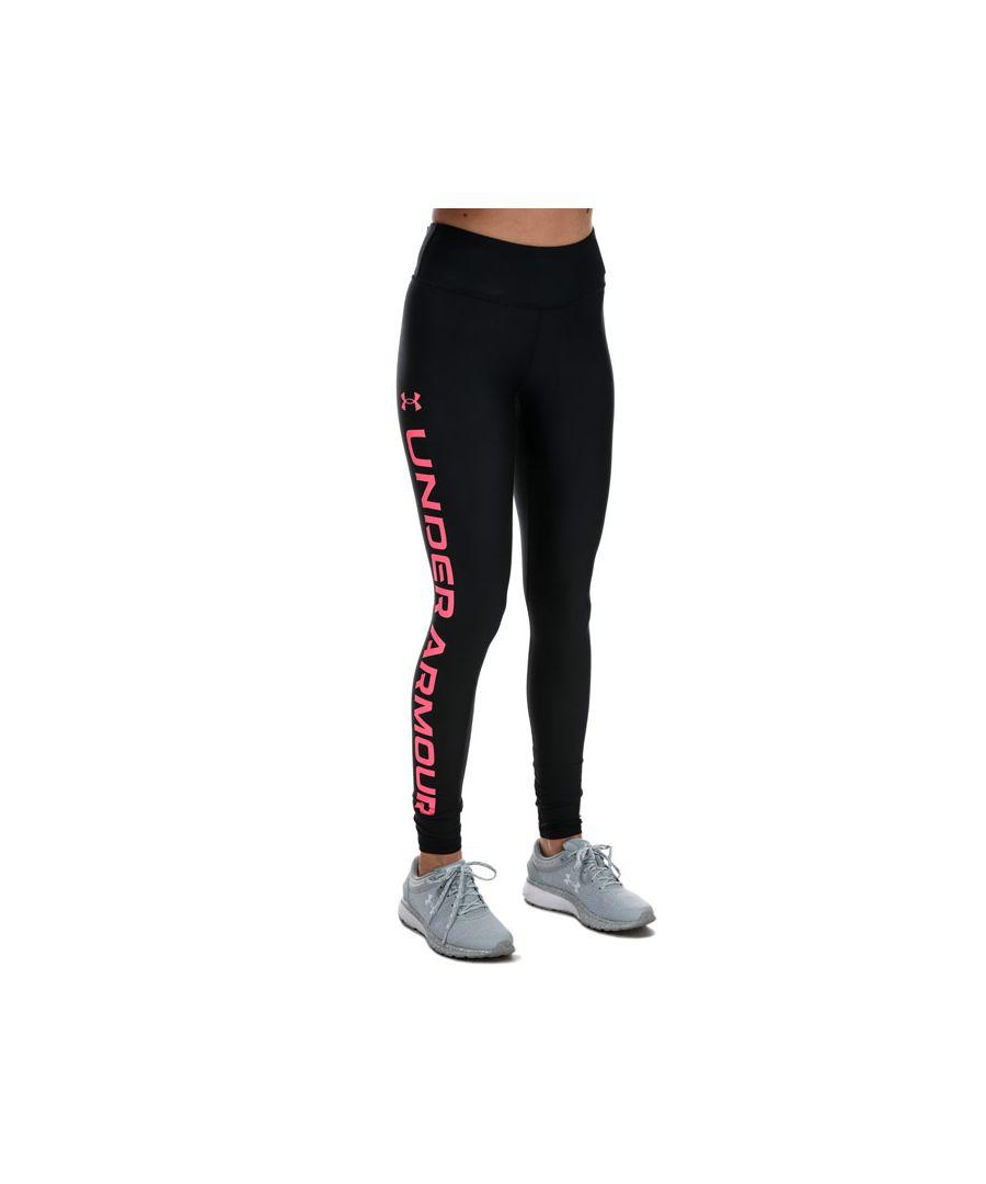 Image for Women's Under Armour Heat Gear Branded Leggings in Black