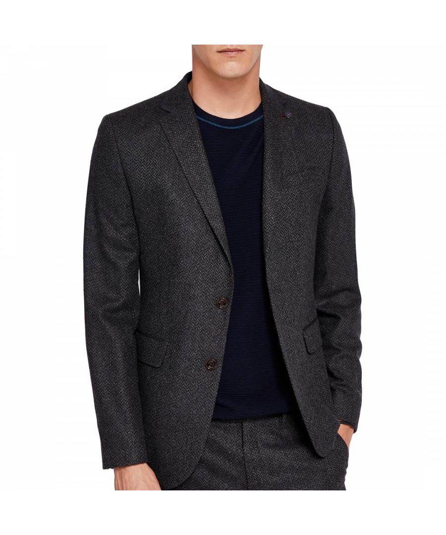 Image for Ted Baker Glen Semi Plain Wool-Blend Jacket, Charcoal