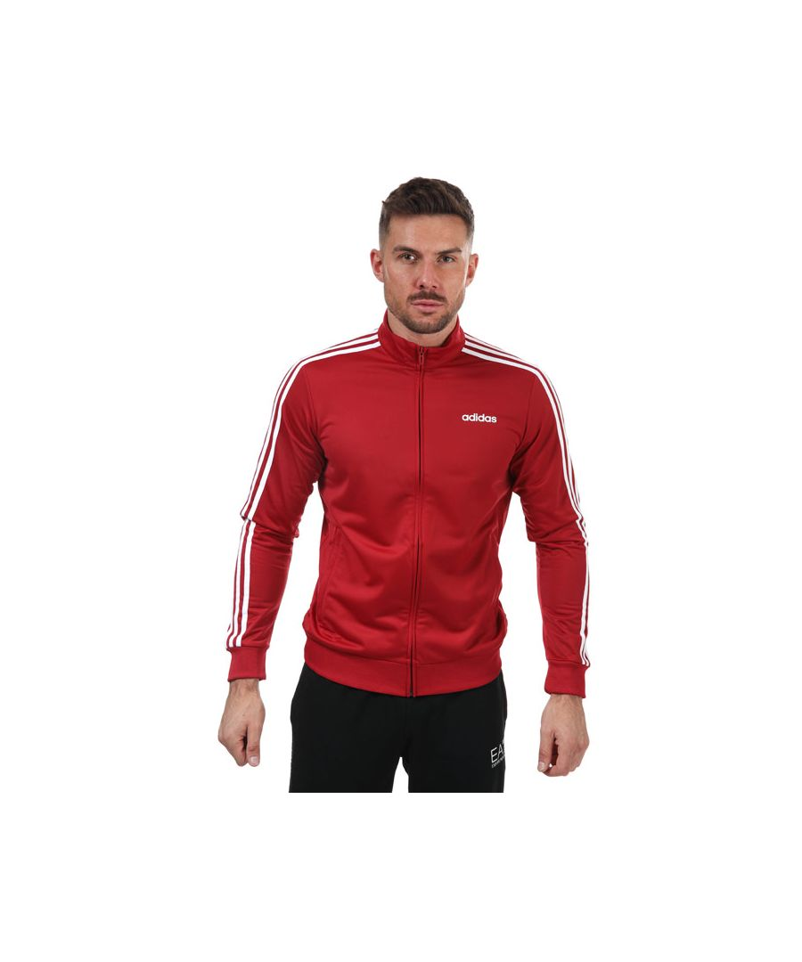 Image for Men's adidas Essentials 3-Stripes Tricot Track Top in Burgundy