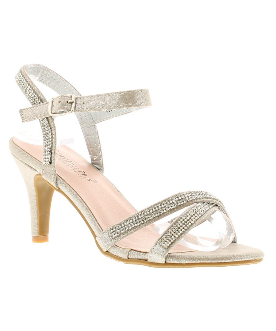Image for Comfort Plus Charlotte Womens Ladies Heeled Sandals Silver