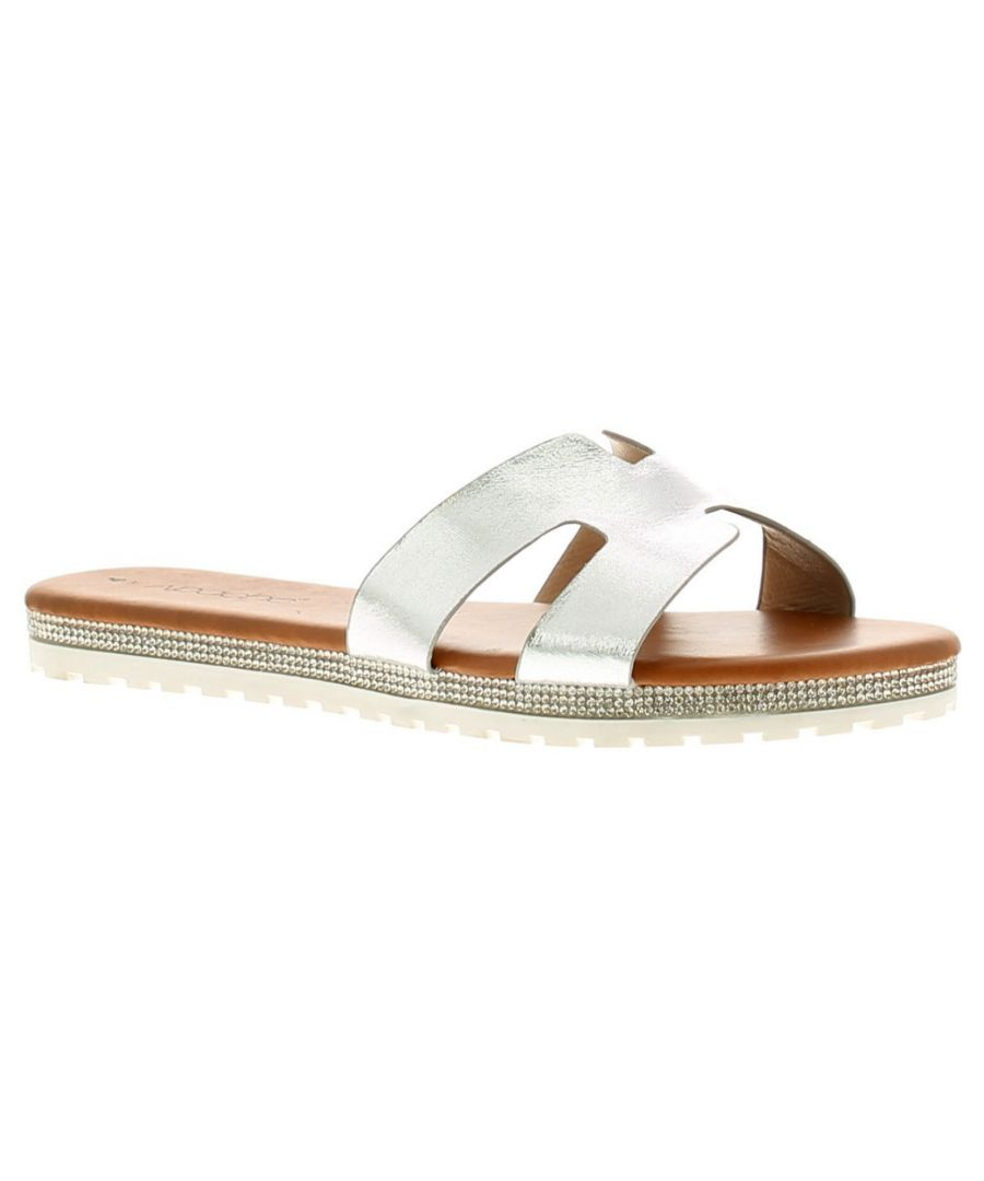 Image for Apache Hildy Womens Ladies Flat Sandals Silver