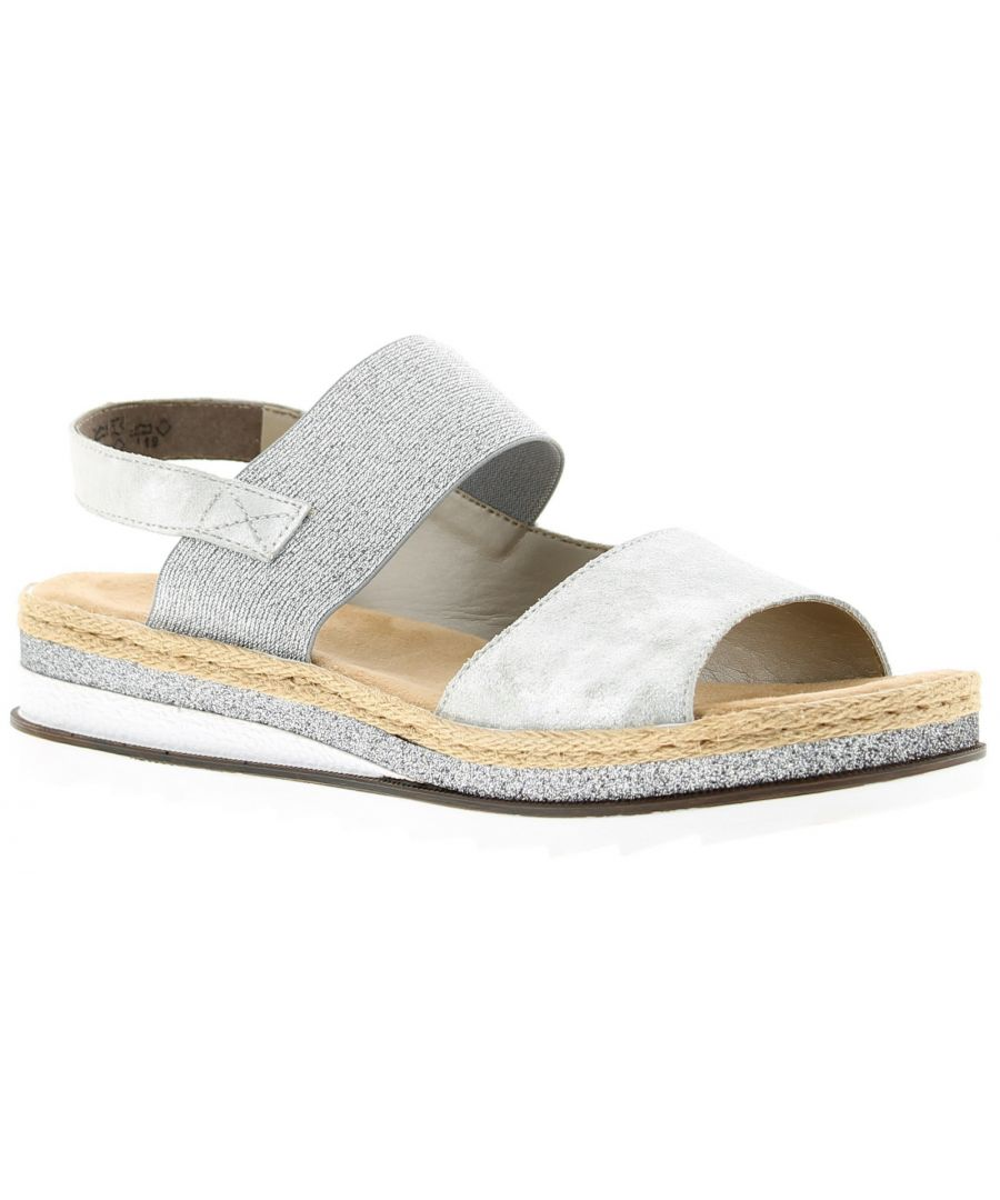 Image for Ladies Shimmering Silver Grey Upper Platform Sandals Elasticated Strap For Easy On Off Padded Insole