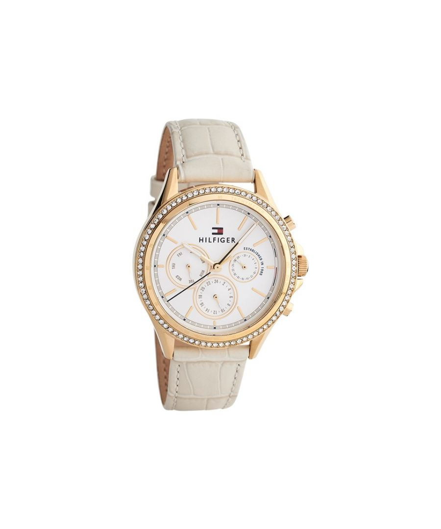 Image for Tommy Hilfiger Womens 1781982 Ari Gold Plated Multi Dial Leather Strap Watch