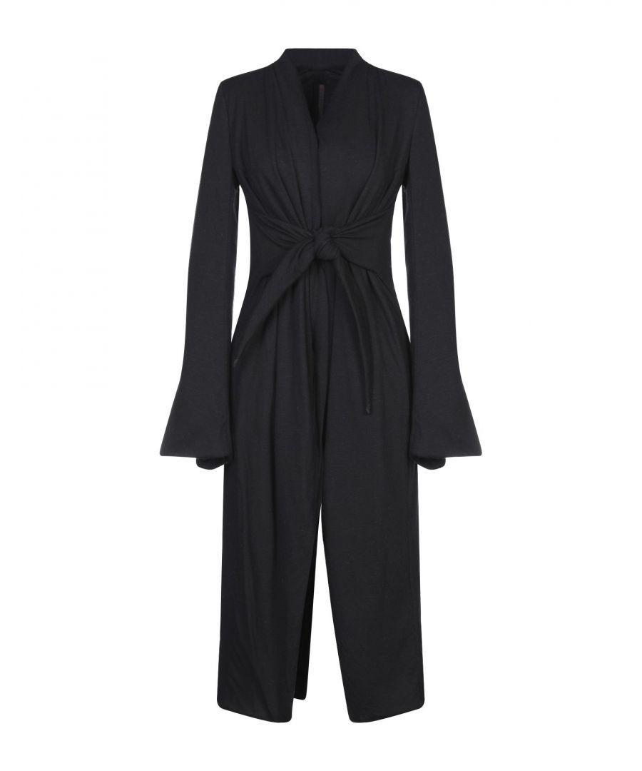 Image for Rick Owens Black Flare Sleeve Wrap Coat