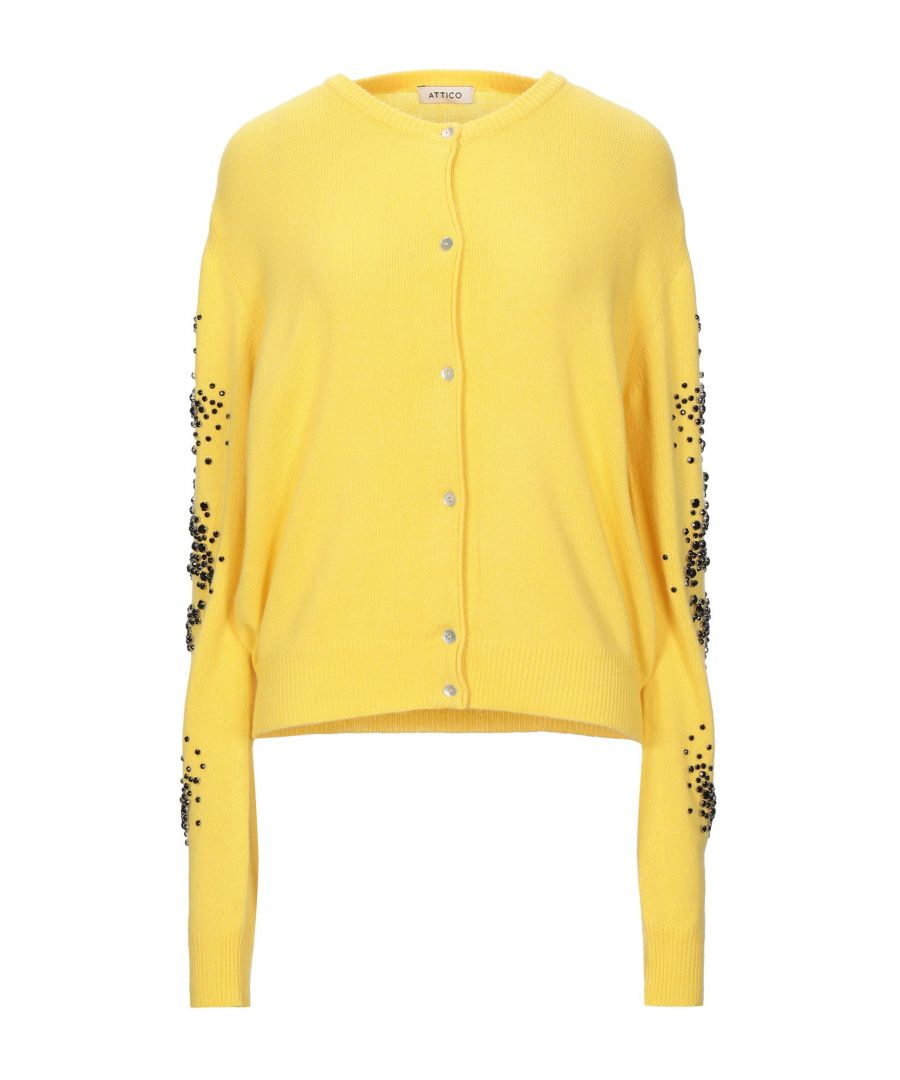 Image for The Attico Yellow Wool Embellished Cardigan