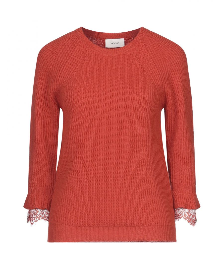 Image for Vicolo Orange Ribbed Knit Jumper With Lace Detail