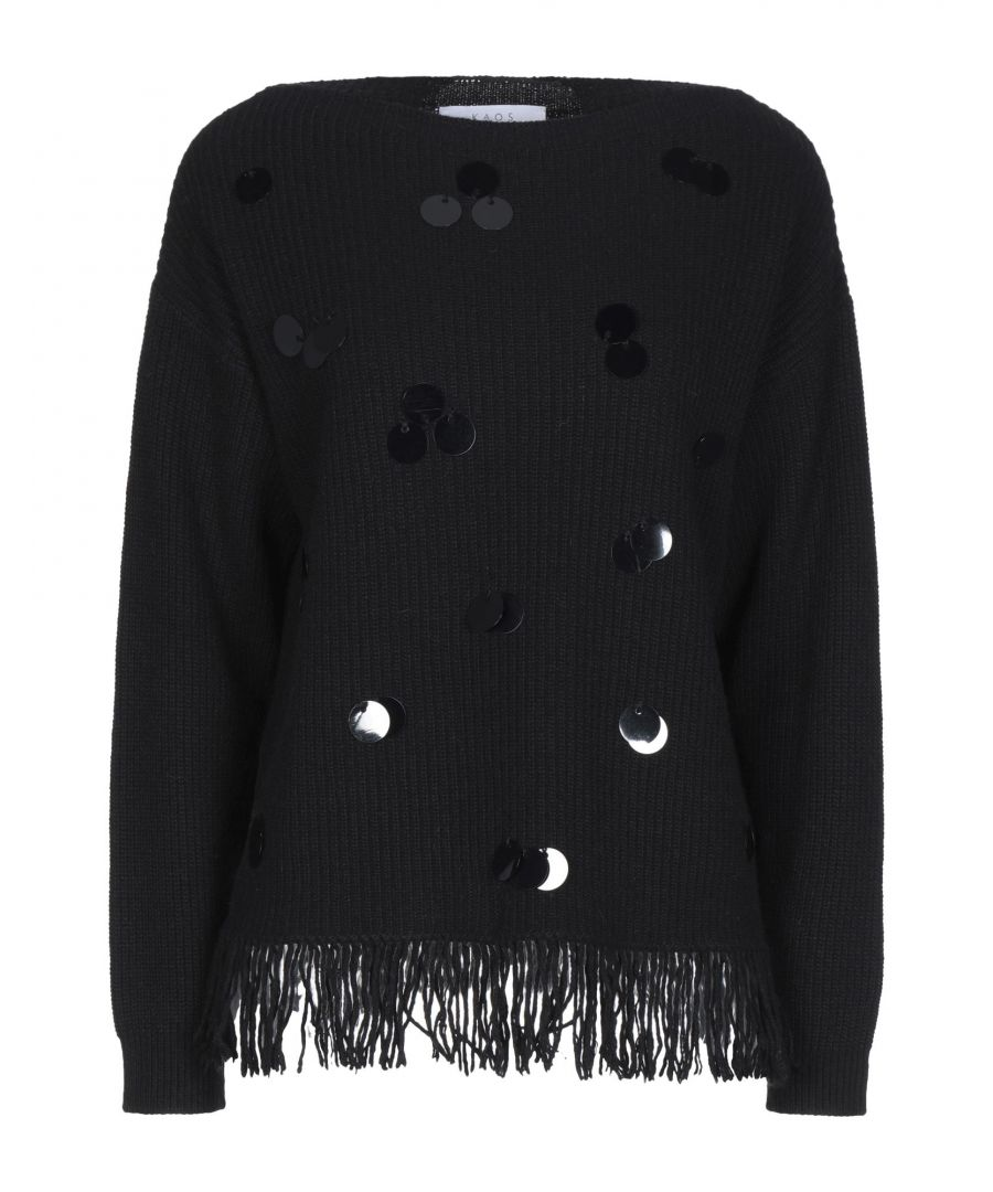 Image for Kaos Black Sequin Knit Jumper
