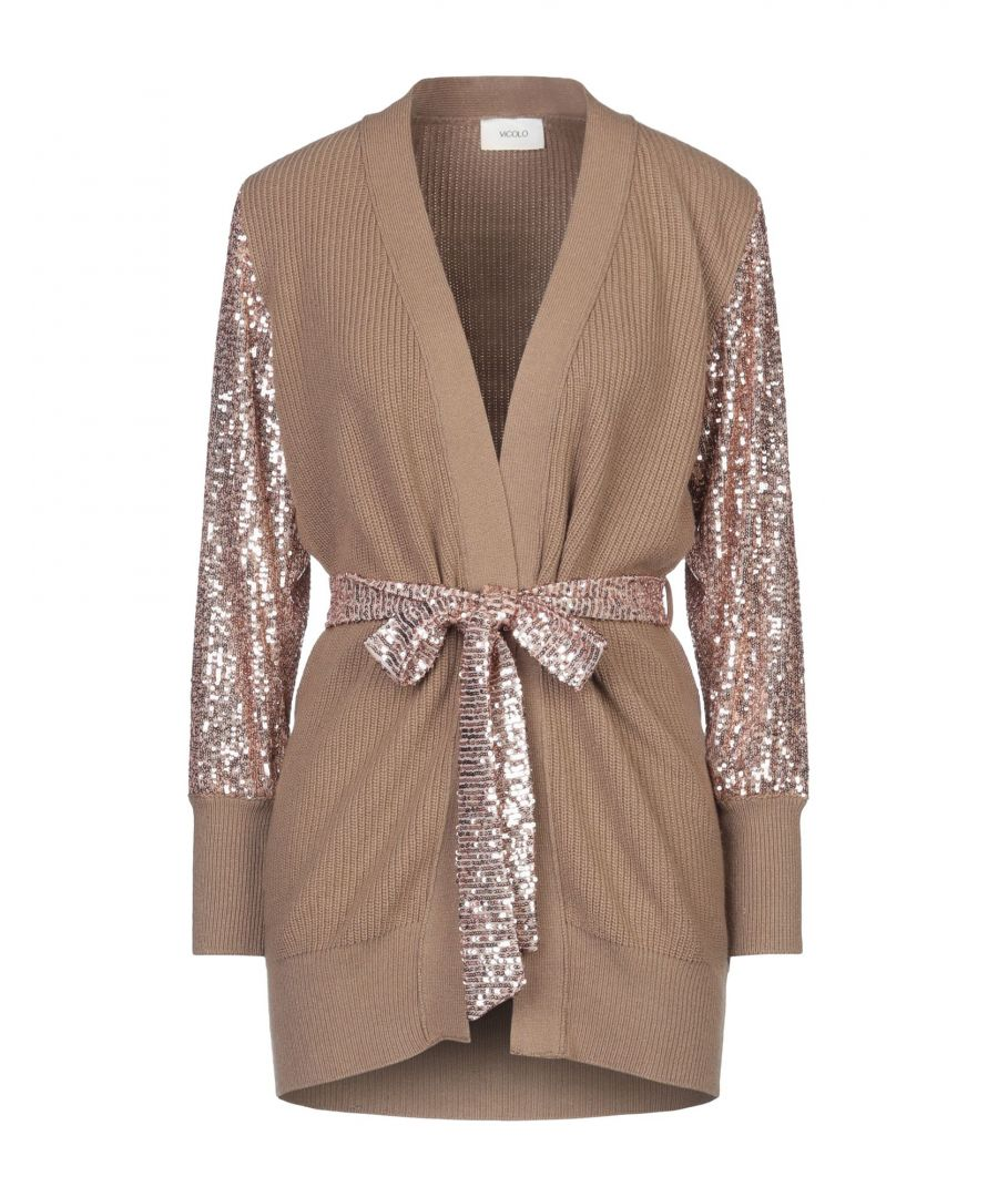 Image for Vicolo Brown Lightweight Knit Cardigan With Sequin Sleeves