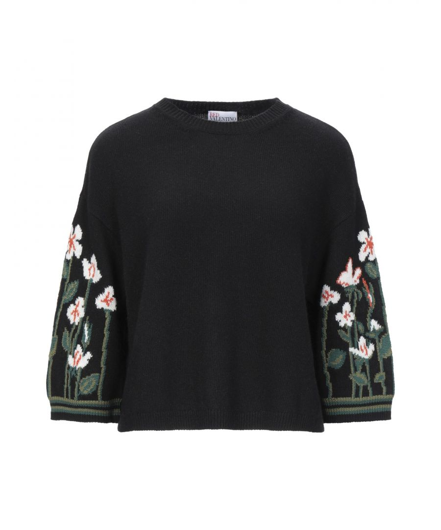 Image for Redvalentino Black Wool Floral Design Jumper